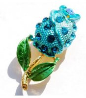 Blue Rose Brooch