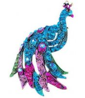 Blue Peacock Brooch