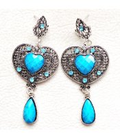 Turquoise Antique Hearts