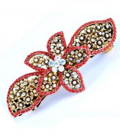 Flower Crystal Clasp Red